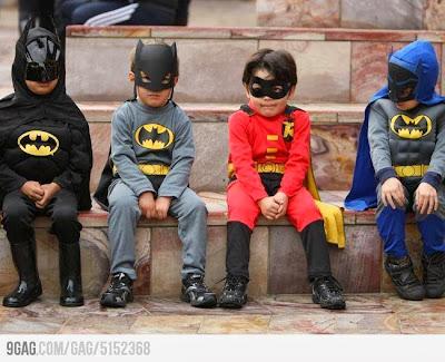 Cosplay de Batman e Robin Infantil