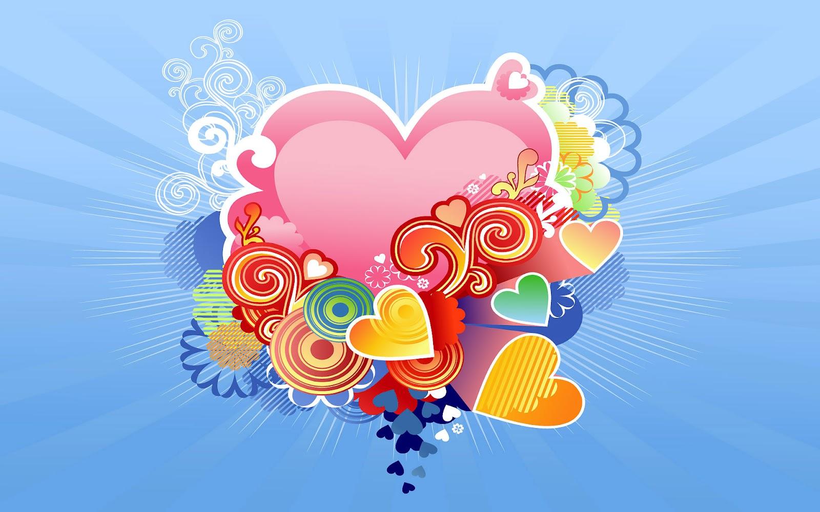Met Een Rood Liefdes Hart En Blauwe Achtergrond   HD Liefde Wallpaper