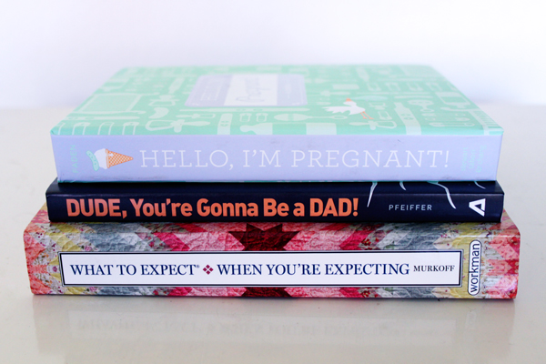 Pregnancy reads: What to Expect What You're Expecting; Dude, You're Gonna Be a DAD; Hello, I'm Pregnant! (pregnancy journal)