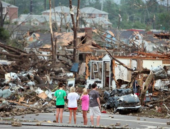 Aftermath from the tornado in Tuscaloosa