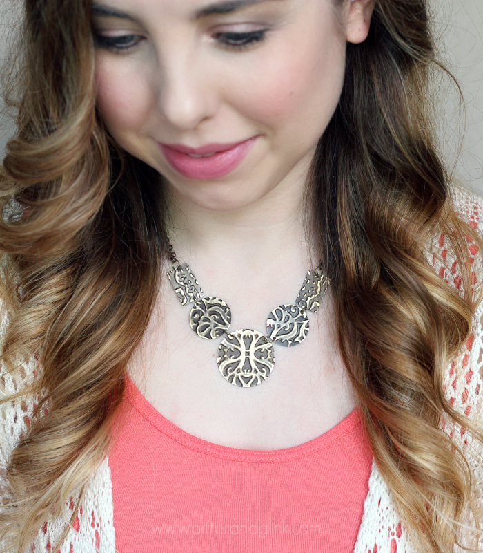 Embossed Metal Statement Necklace--Create a pretty boutique-worthy necklace easily. Click through for the tutorial. www.pitterandglink.com