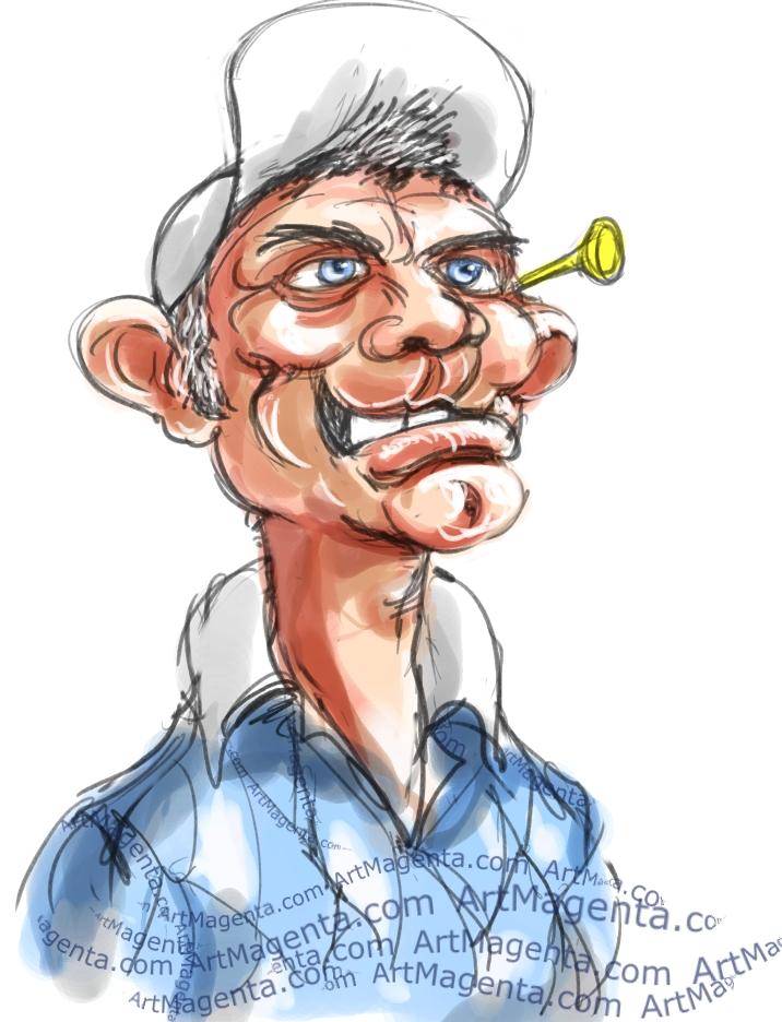 En karikatyr av Jesper Parnevik, tecknad av illustratören Artmagenta.