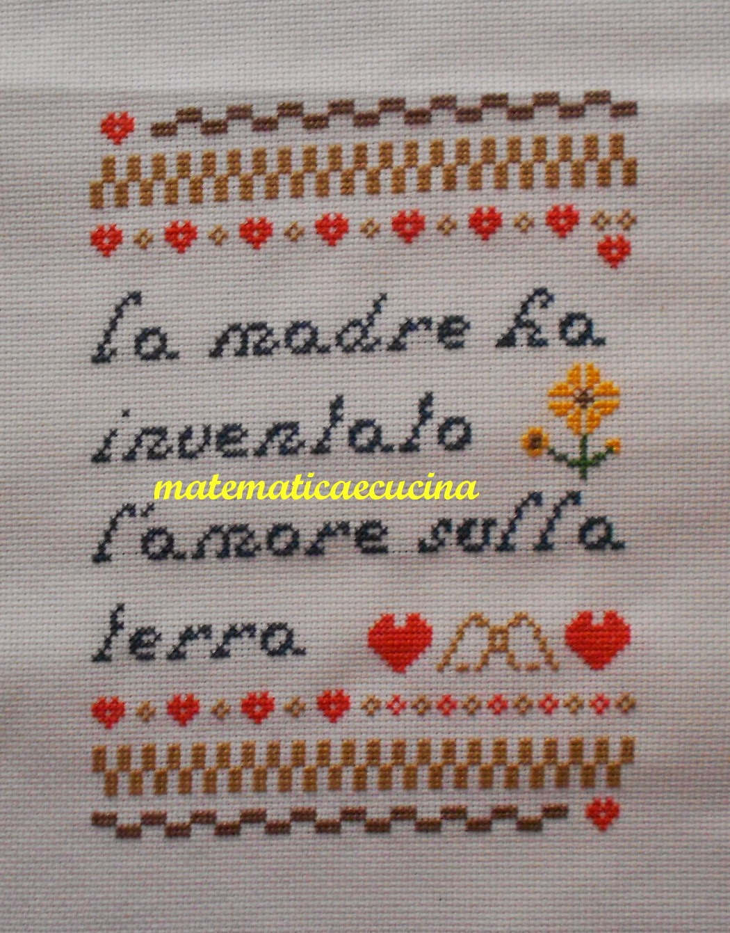 auguri per la mamma a punto croce-  cross stitch- free patterns on matematicaecucina