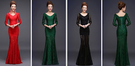 Three Quarter Sleeve Whole Lace Fishtail Evening Dress