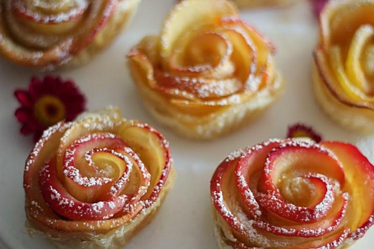 Blätterteig Apfel Rosen