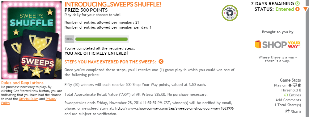 Play Sweeps Shuffle every day for your chance to win.