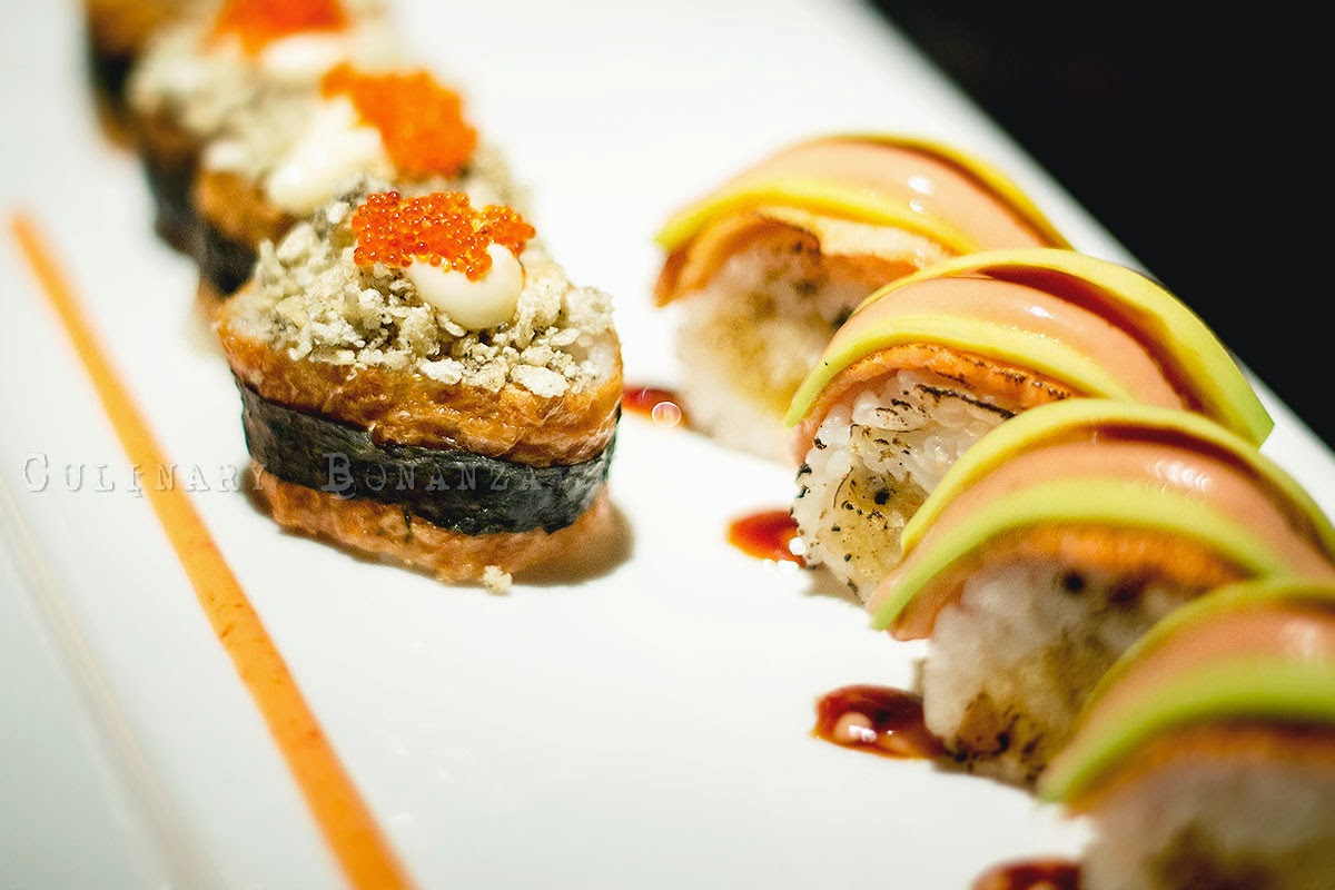 Sake Yaki Maki - rolled crab meat and salmon on top | Crunchy Inari Sushi - rolled skin salmon with Japanese bean curd.
