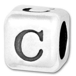 Silver Letter C Beads