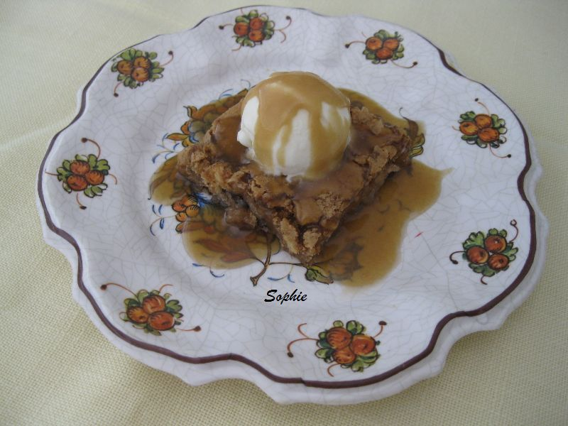 apple walnut torte with caramel rum sauce
