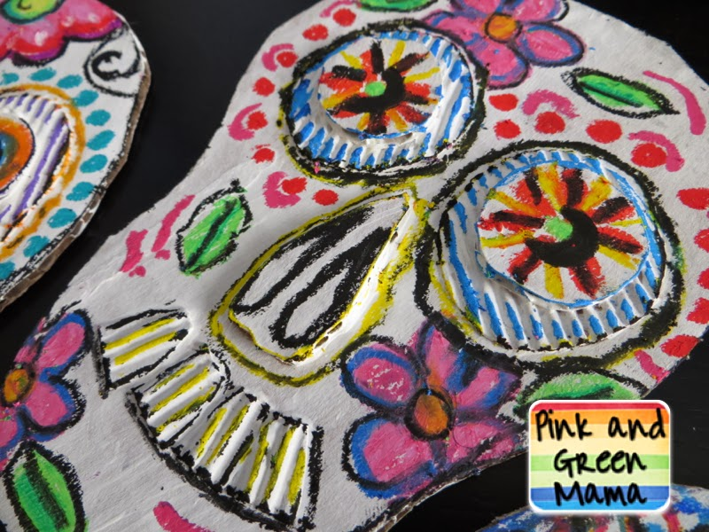 Pink and green mama art around the world kid friendly for Day of the dead arts and crafts
