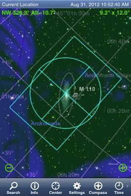 開啟SkySafari +的設定中的Display選項,將視角填入Camera Field項目中。SkySafari +的導航星圖中便會顯示相機視野的方框。