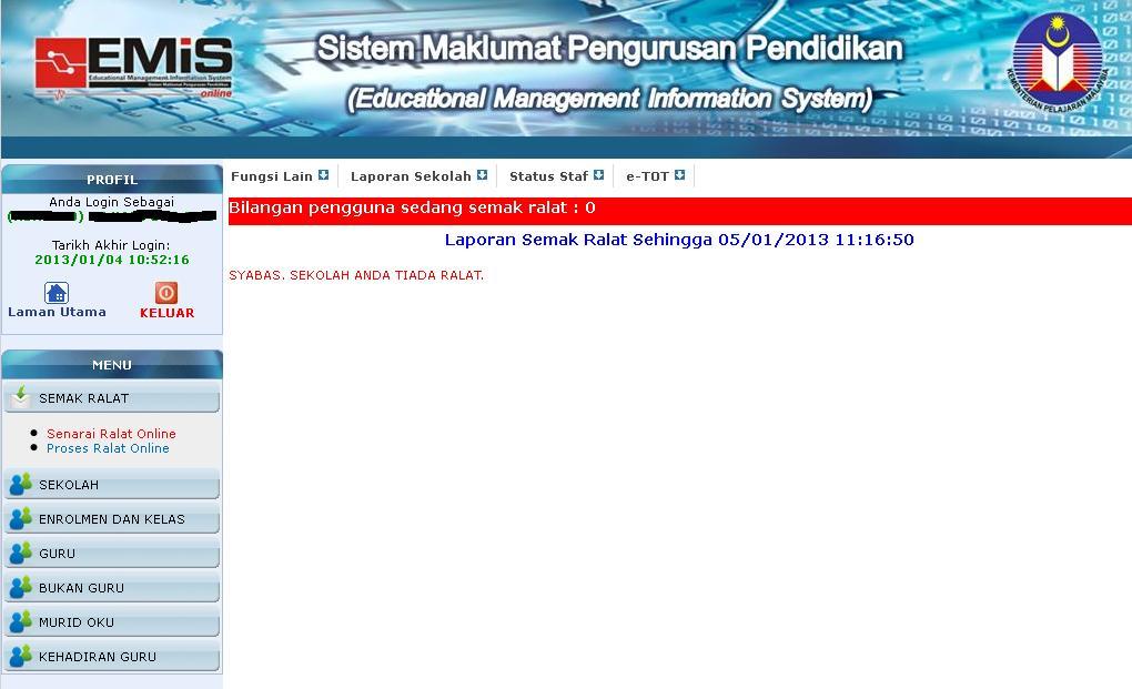 Keputusan Semak Ralat EMIS ONLINE Januari 2013