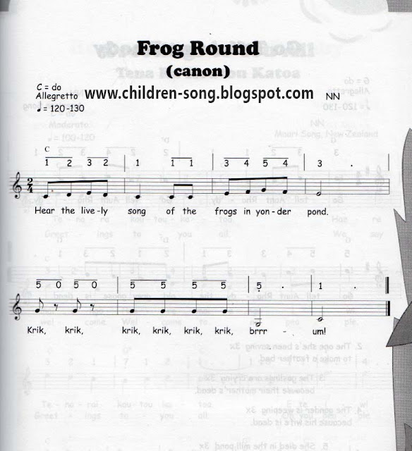 Frog Round Song with Notes and Chords