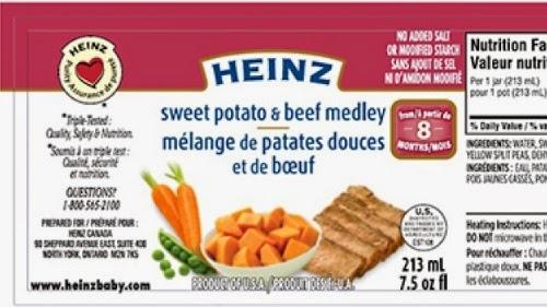 Product Recall Heinz Sweet Potato & Beef Medley Infant Food