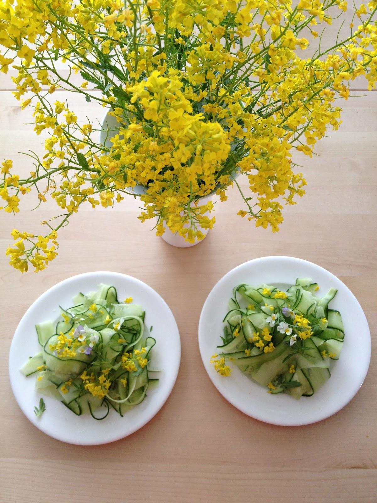 Cucumber And Wild Flower Salad With Basil Vanilla Vinaigrette Eat