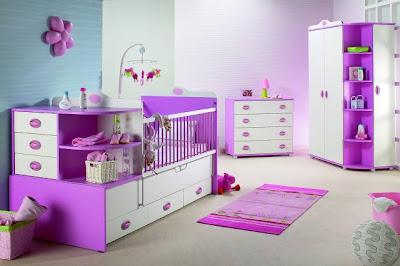 mor renkte mobilyali bebek odasi takimlari cesitleri En Güzel Bebek Odası Takımları Ve Resimleri