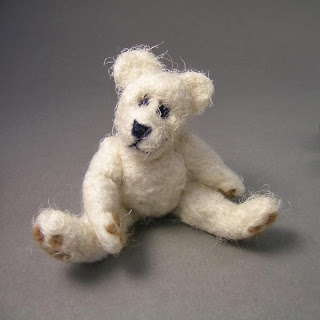 A needle felted teddy by Jane Rodgers
