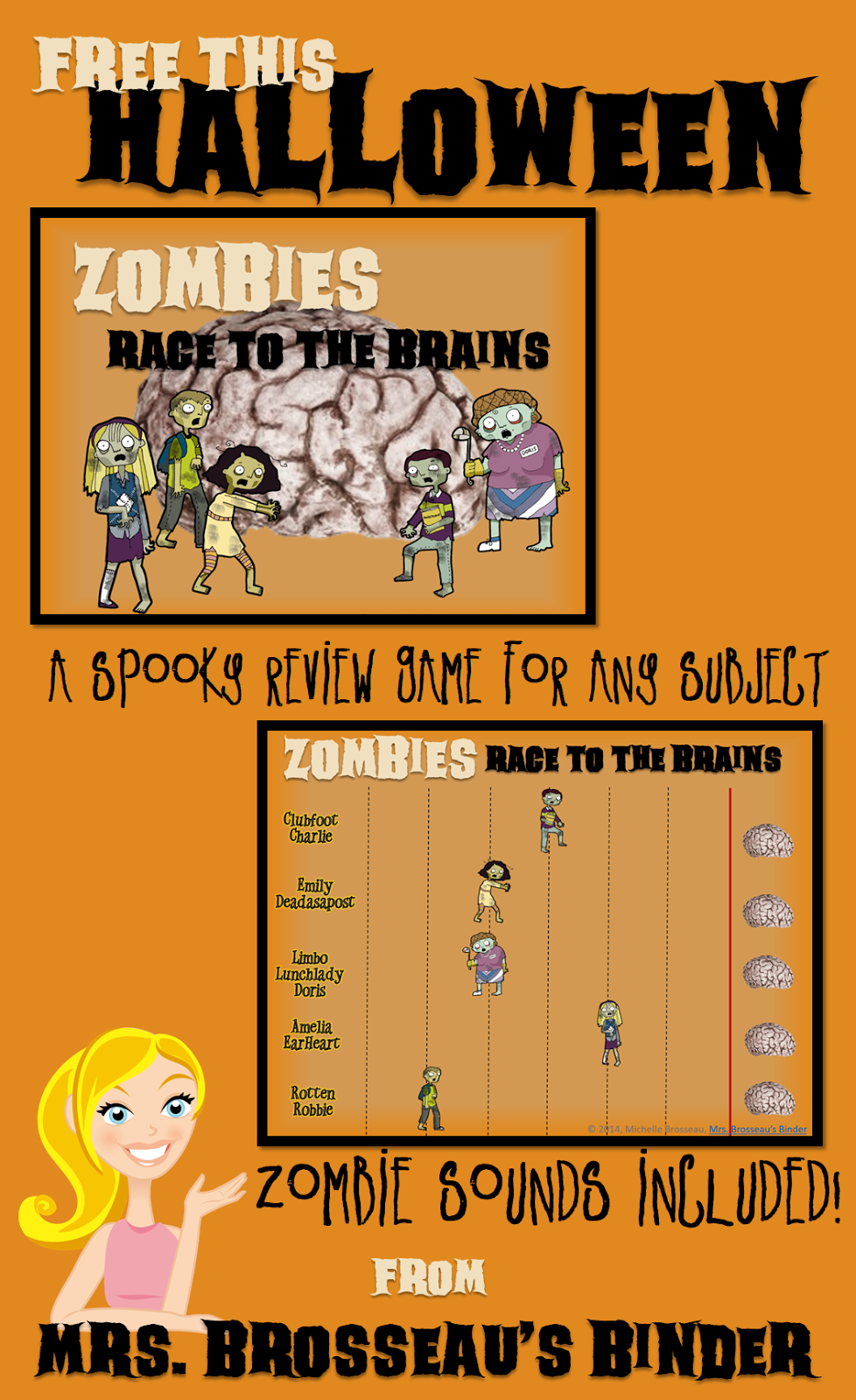 http://www.teacherspayteachers.com/Product/Zombies-Race-to-the-Brains-Halloween-PowerPoint-Review-Game-for-ANY-Subject-1484808