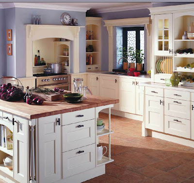 english country kitchen design in white with wooden cabinets and island