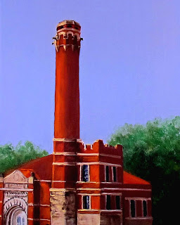 oil painting of the pumping station at Eden Park