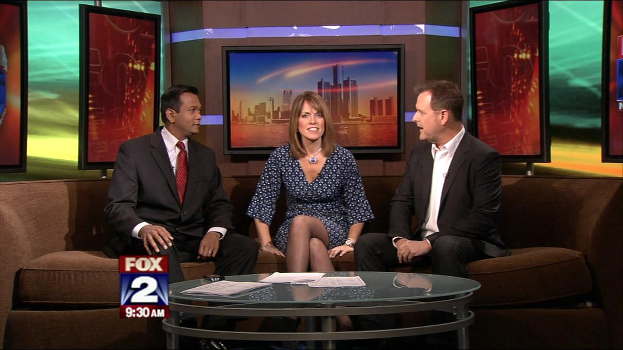 Pantyhose news anchor