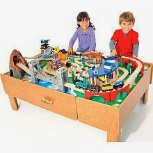 Imaginarium 2010 Classic Train Table with Roundhouse Wooden Train Set  sc 1 st  Kids Train Table Sets : train sets table - pezcame.com