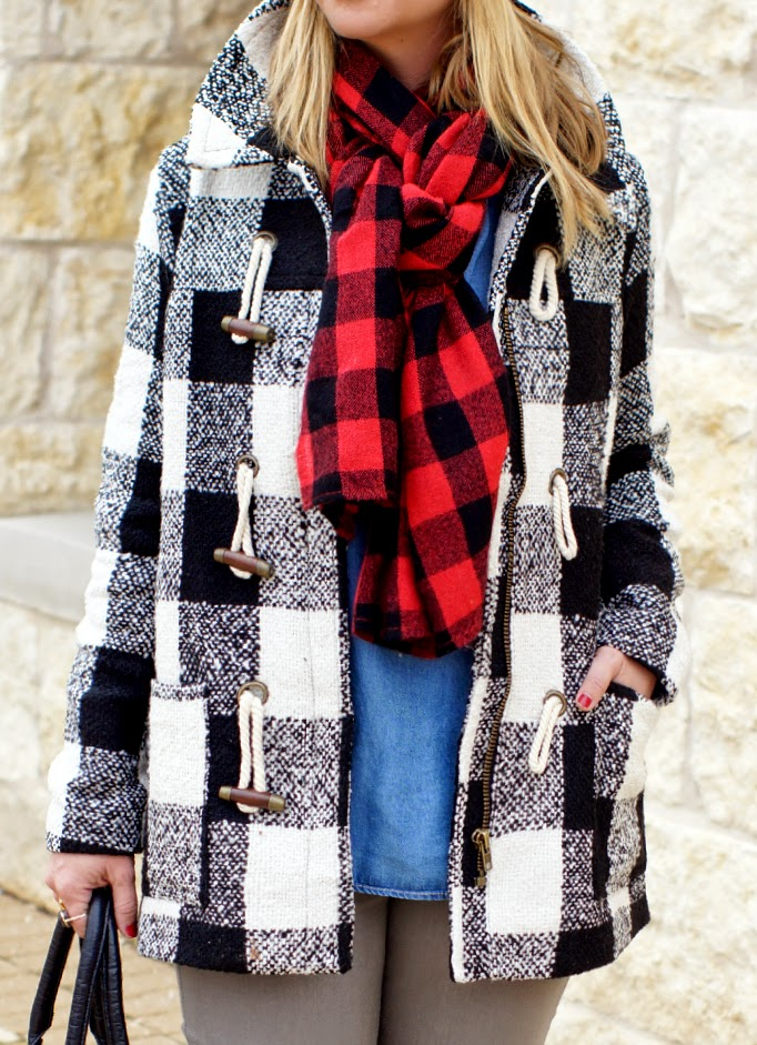 black and white plaid toggle coat forever 21