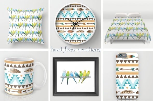 Society6 products with Southwest Feathers & Arrows pattern and Budgies designs Hazel Fisher Creations