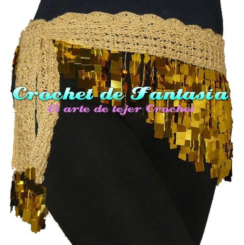 Crochet, ganchillo, lentejuelas cuadradas, dorado, hecho a mano, caderín, danza Árabe, bellydance