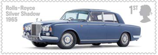 Stamp showing Rolls-Roye Silver Shadow.