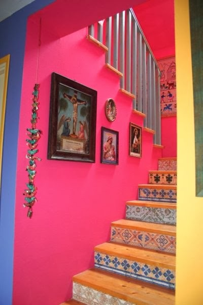 jesus, our lady of perpetual succour, tiled walls, hanging decor, pink stairway