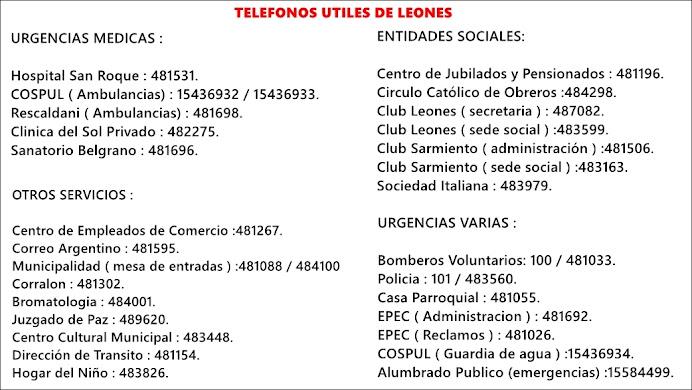 TELÉFONOS ÚTILES DE LEONES