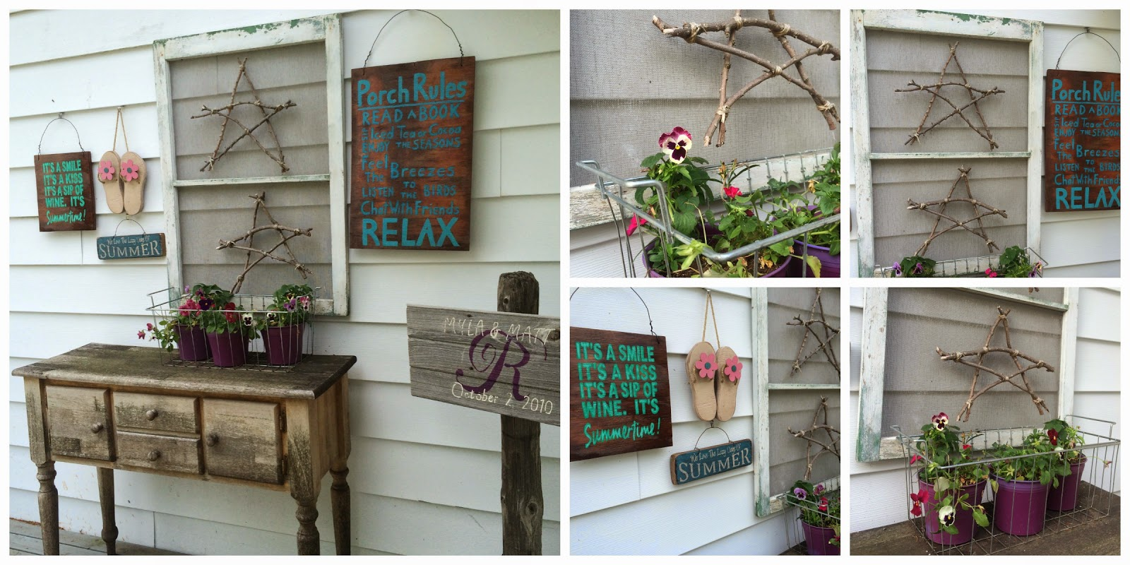 Hand Painted Wood Signs and Potted Plants