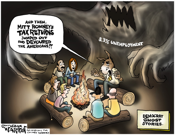 William Warren political cartoon - Democrats attack Mitt Romney success while ignoring Obama's 8.3% Unemployment Record and Trillions in debt