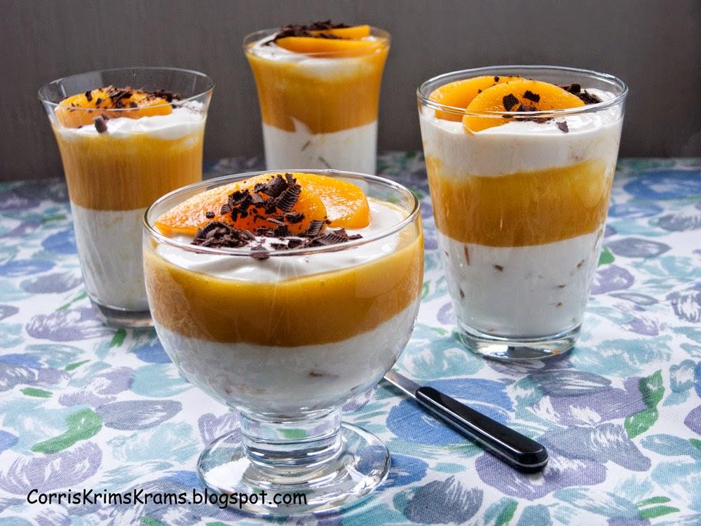 Mascarponecreme, Dessert, Pfirsich,