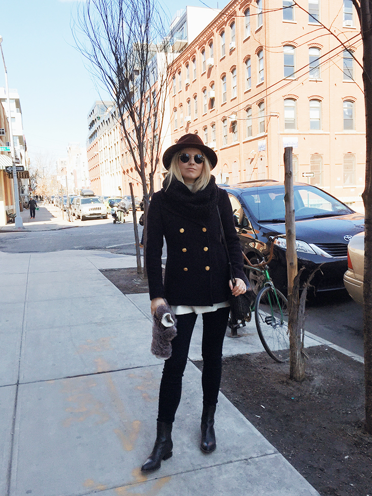 Fashion Over Reason, transitional weather, JCrew majesty pea coat, Alexander Wang Anouk boots, J Brand Maria Photo Ready jeans, Bailey of Hollywood wide brim hat,Ray-Ban Lennon sunglasses