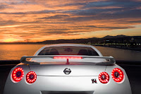 2012 MY Nissan GT-R official press media photo image picture high resolution original source facelift revised new generation enhanced restyled special exclusive edition 530hp 390kW 530ps rear spoiler wing third brake light emblem symbol badge logo