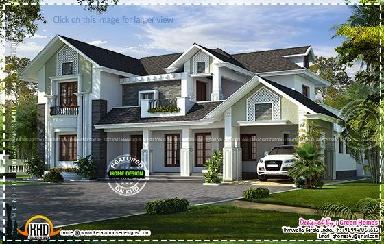 Western style house rendering kerala home design and for Western style houses
