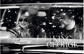 Kate Moss and George Michael in  a car