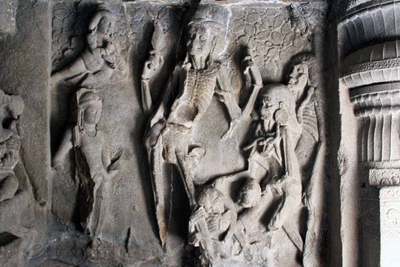 Panel of Kali and Kala on western wall