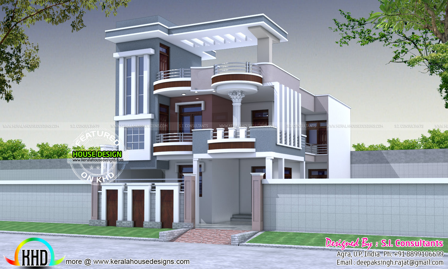 30x60 modern decorative house plan kerala home design for Home plan design india