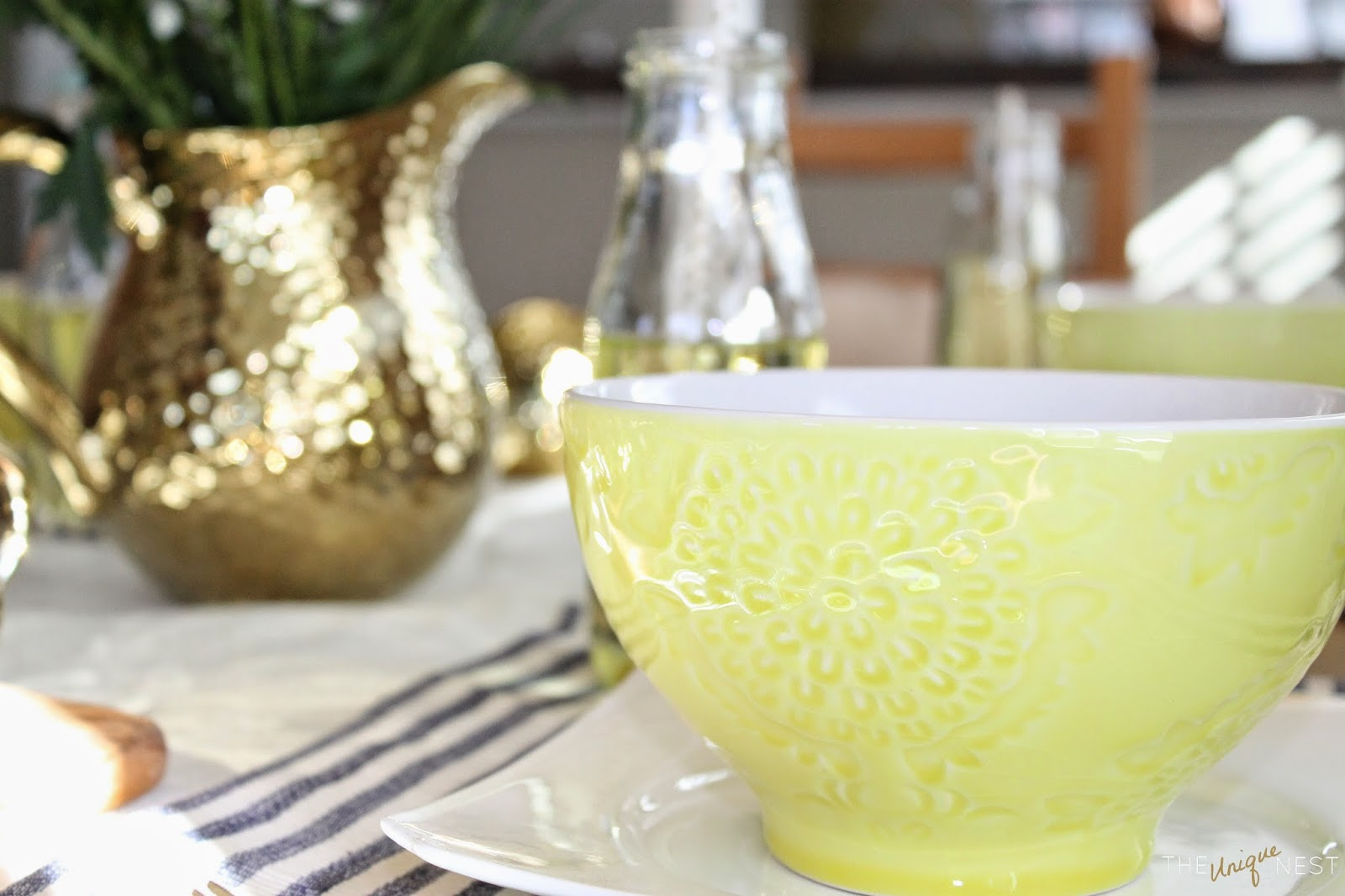 To add a little sparkle and glitz to the table I found this gorgeous gold pitcher with matching creamer/sugar by Luxe Habitat. For glassware I used replica ... & Coastal meets Country: A Spring Tablescape - The Unique Nest