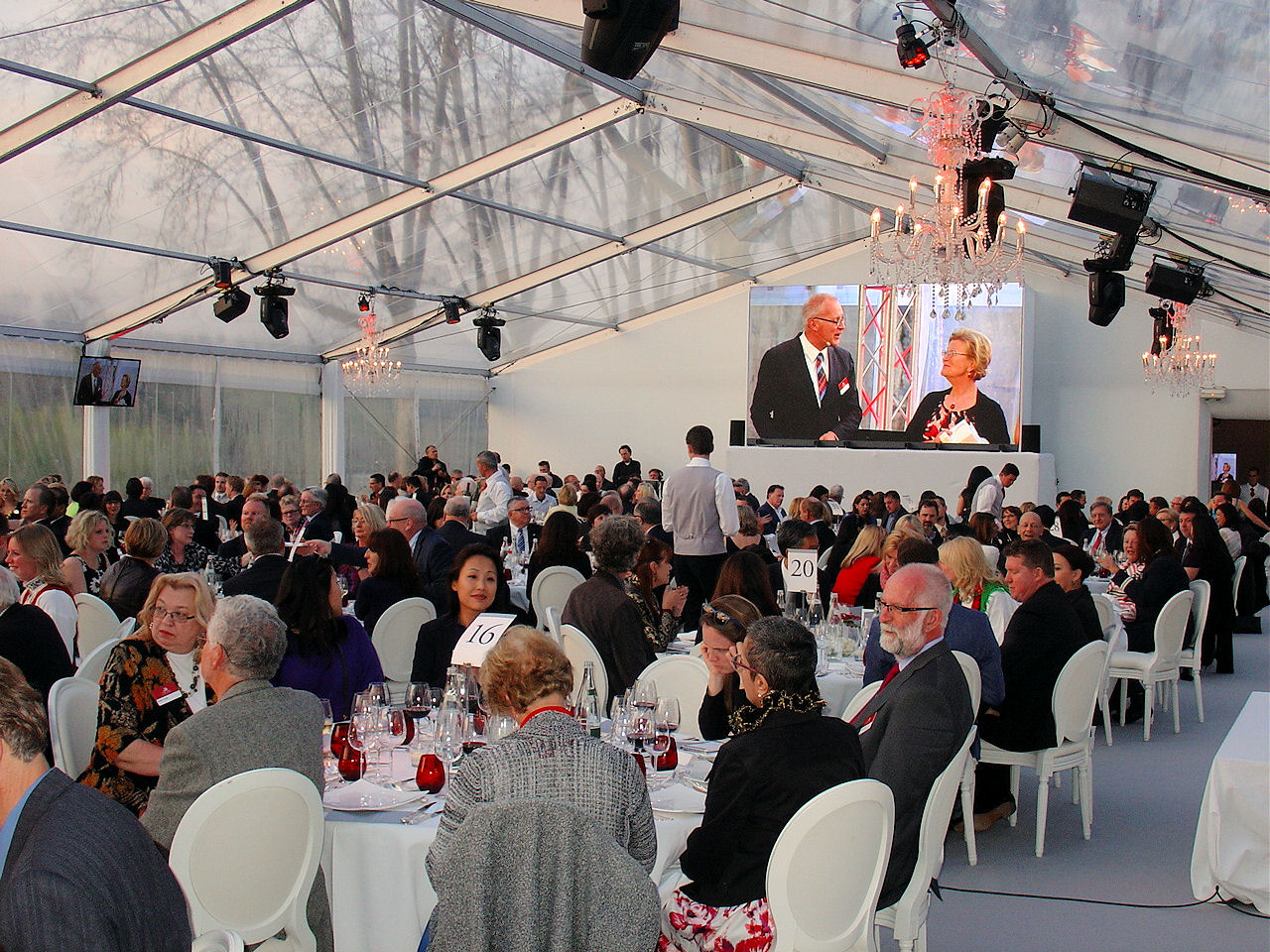 Inside the tent at le Pont du Gard for presentations, dinner and entertainment.