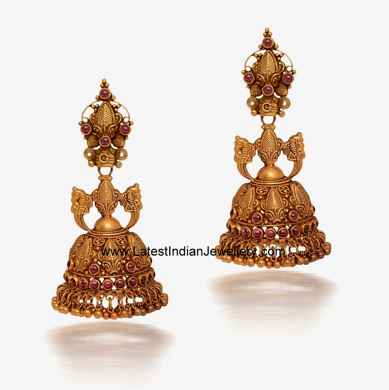 Indian traditional gold jhumkis