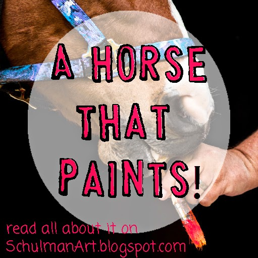 horse that paints abstract art | read the story on http://schulmanart.blogspot.com/2014/07/a-horse-that-paints.html