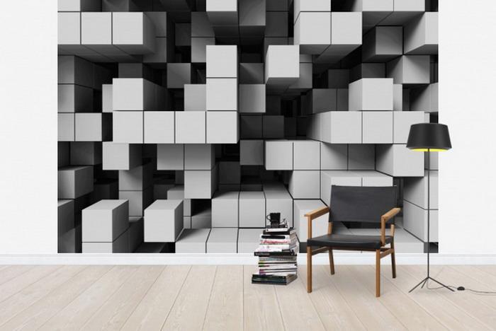 conseils déco et relooking: Décors Muraux 3D en noir et blanc