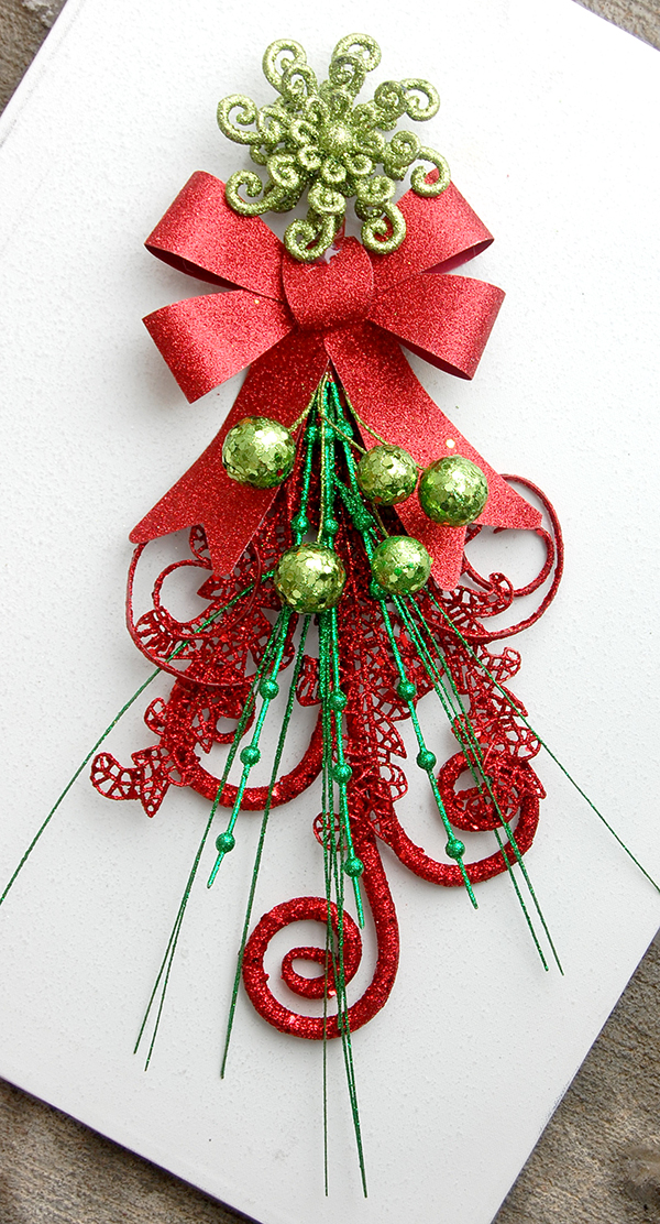 red swirl pick, red and green pick, red ribbon, green swirl ornament