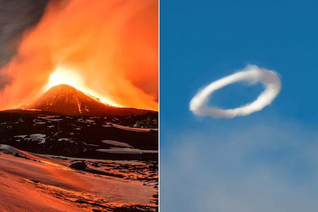 Вулкан Этна выпустил в небо около десятка вихревых колец.