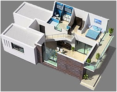 3D HOME PLANS THREE BEDROOM MODERN BEACH HOUSE