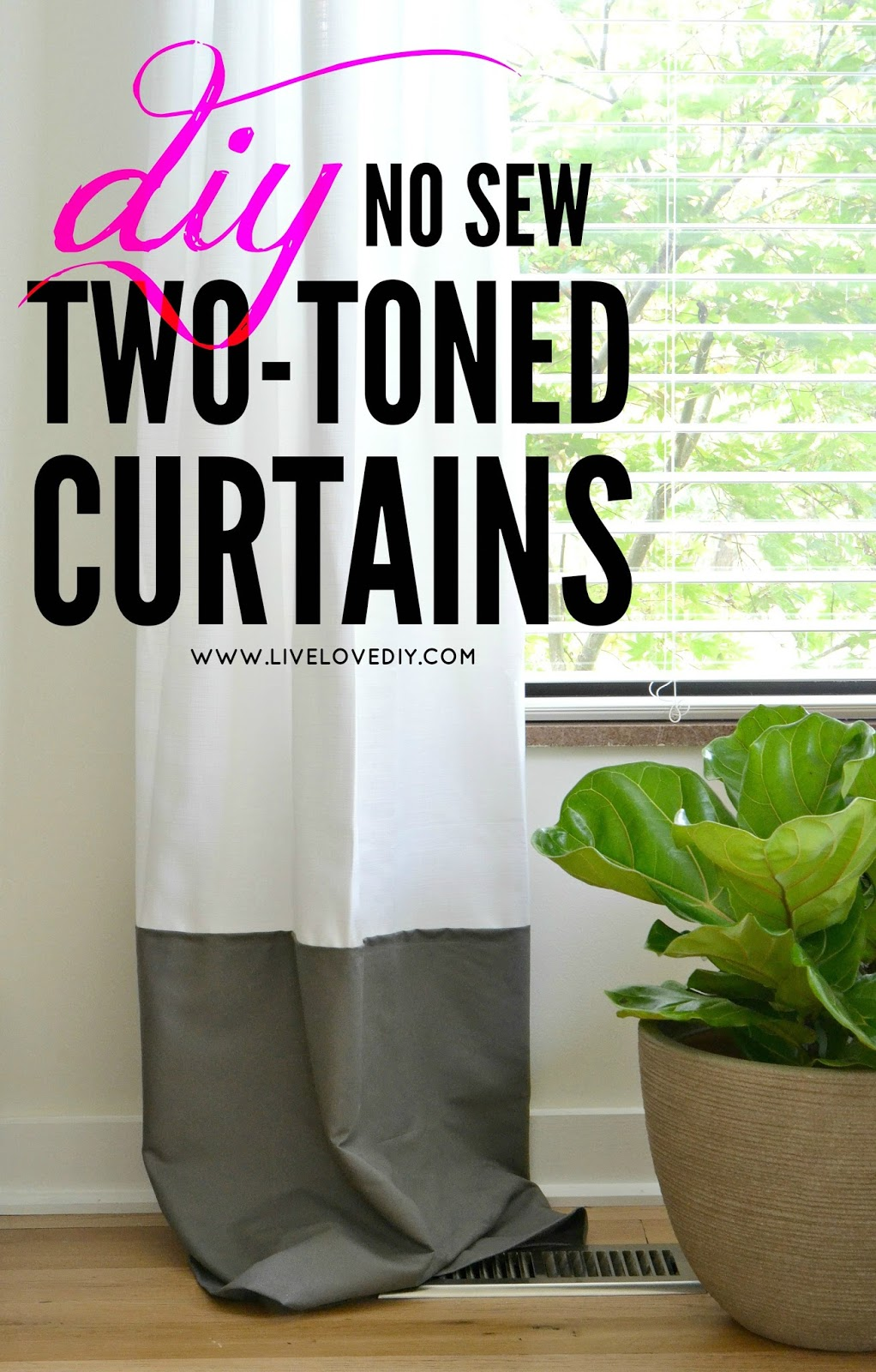 Diy No Sew Two Toned Curtains Livelovediy Bloglovin